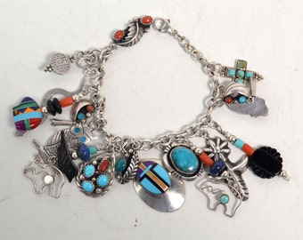 Vintage 925 Sterling Silver Signed Native American Charm Bracelet with 17 Charms
