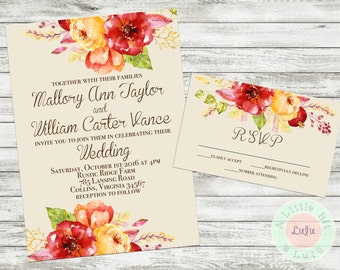 autumn floral wedding invitation wedding personalized invitation digital download printed invite - Fall Themed Wedding Invitations