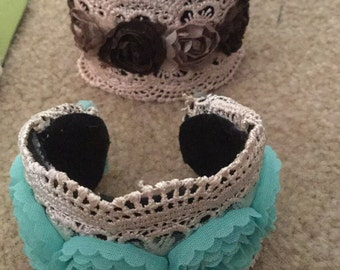 Lace and flowers cuff bracelet