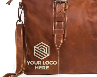Corporate Gift - Handmade Leather Gifts Embroidered With Your Company Logo -  Bulk Gifts - Corporate Gifts - Leather Gift Bag