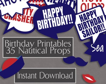 35 Nautical Birthday photo booth props, nautical theme birthday party photobooth printable, pirate ship's theme props, birthday props