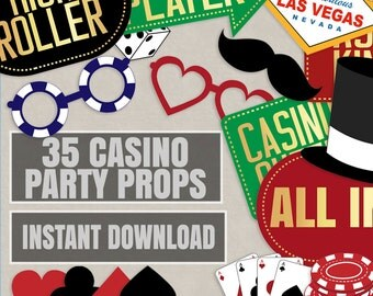 35 Casino Party Props, Casino printable decor, las vegas theme party, poker night photo booth props, casino photobooth printable props