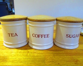 vintage storage jars, boots cream tea, coffee, sugar, jars ref 9
