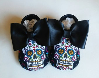 Black sugar skull shoes