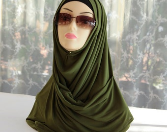 Dark olive green hijab/scarf/headwear