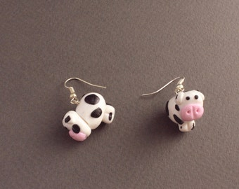 Cow Fimo/Polymer Clay Drop Earrings - Down on the Farm