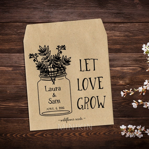 Wedding Seed Packets Personalized Favors Mason Jar By MinikinGifts