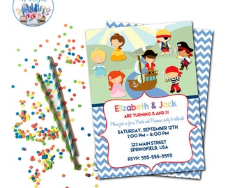 Pirates and Princesses Party Invitation, Pirate and Princess Birthday Party Invite