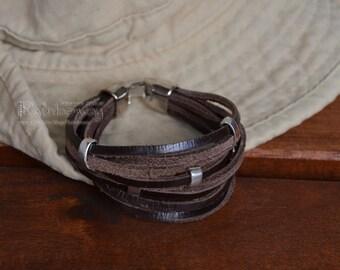 Custom multistrand leather bracelet