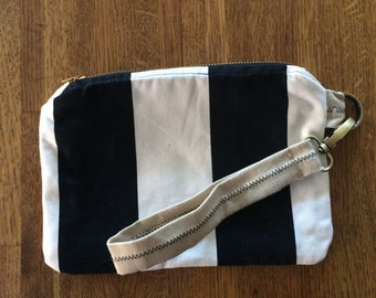 Hand Sewn Black and White Striped/Linen Wristlet