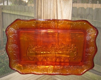 Amberina Last Supper Plate, Orange Red And Yellow Glass, Collectible Plate, Home Decor,
