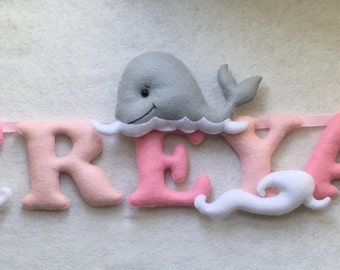 Whales-Name banner-Pink-Felt Letters-Name Garland-Name Bunting-Nursery Decor