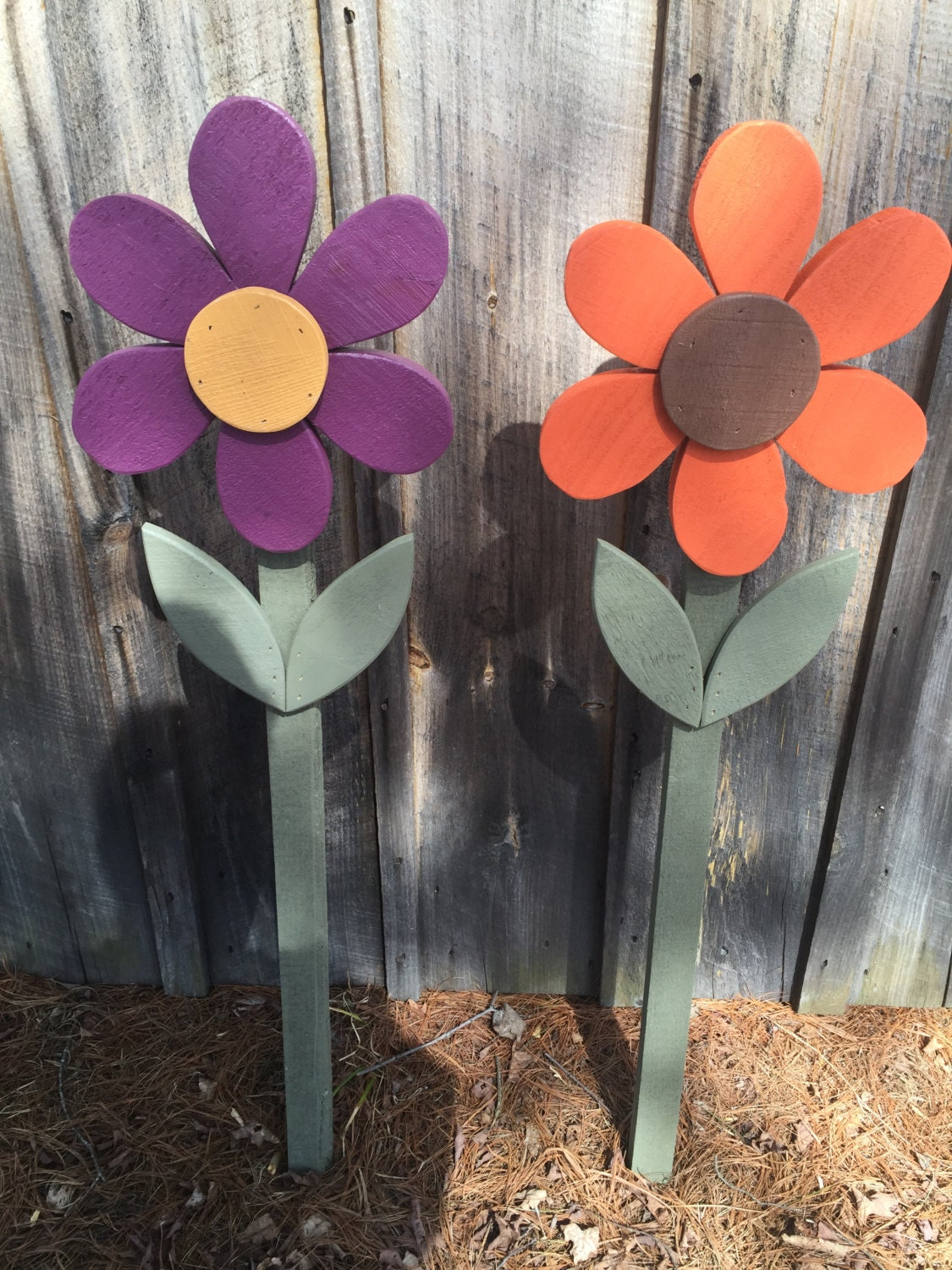 Flowers spring summer fall yard decorations wood flower on for Spring yard decorations