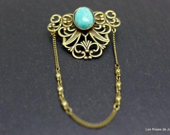 Art deco Brooch, turquoise