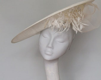 Wide Brim Ivory Fascinator Royal Ascot Hat
