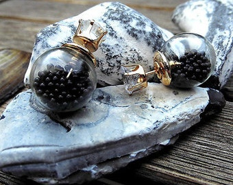 Earrings crystal ball double bead filled