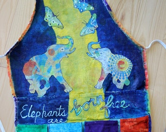 Hand-Painted Apron - Elephants Are Born Free - 4 pocket Mixed Media Apron