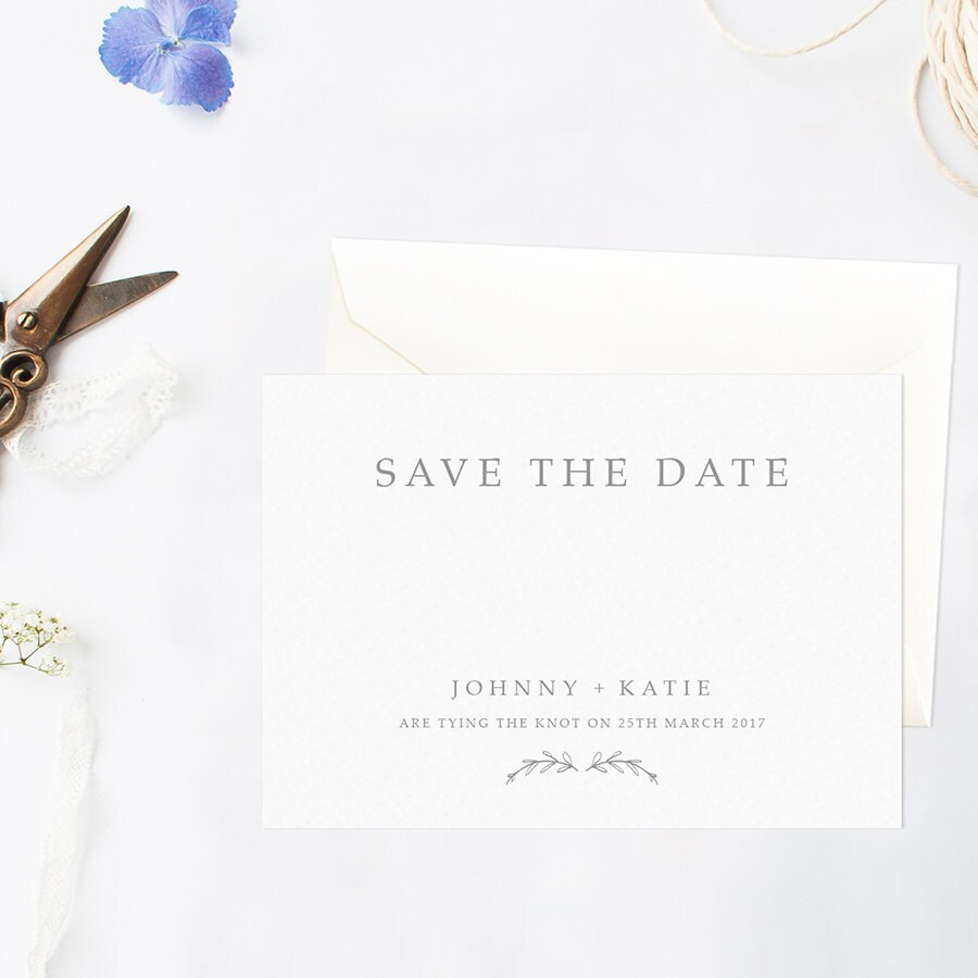 modern and simple save the date card with leaf by lilacandwhite