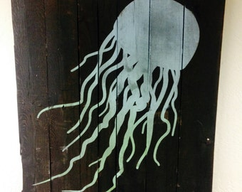 LARGE Jellyfish Painted on Reclaimed Wood