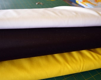 Emma Louise. plain fabric, white, black, yellow