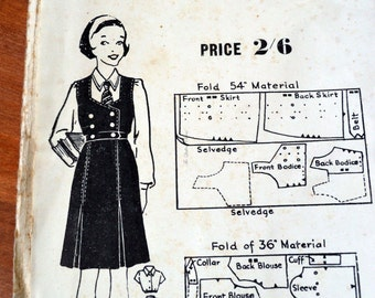 Vintage, McKinlays, school tunic and blouse paper pattern, 1950 to 1960's