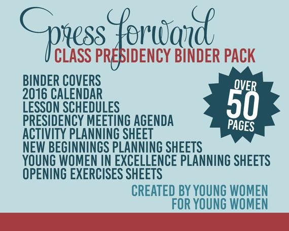 2016 Press Forward Young Women Class Presidency Binder Pack