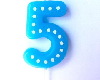 Number 5 Birthday Candles, 5, 50, Numbers, Blue, Green, Orange, Red, Yellow, Fifth Birthday, Five, Candles, Boy, Girl, Birthday, Polka Dots