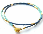 FREE Shipping Worldwide Natural Afghanistan Turquoise, Lapis Lazuli, Gold Plated Tiny Seed Mini Beads Necklace Vintage Handmade 17.7 inches