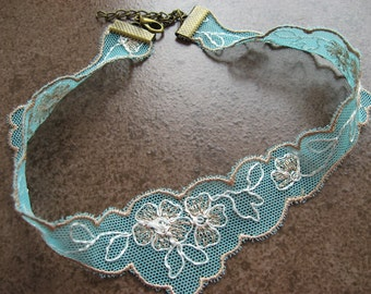 Lace Choker Embroidered Lace Turquoise Tulle with floral embroidery Marriage Boho necklace
