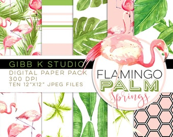 Flamingo Palm Springs Digital paper pack - pink green watercolor - Scrapbook - Small Com OK - INSTANT DOWNLOAD - Gibb K Studio