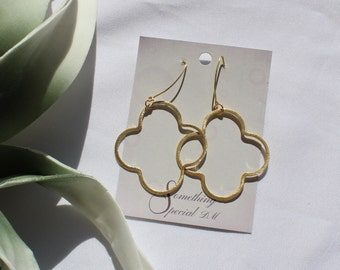 "Quatrefoil or Clover Earrings In Silver and Gold, 1 1/4"" and 1 1/2"" Popular Open Quatrefoils"