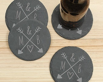 Arrows & Initials Slate Coaster Set , Engraved Slate Coaster Set, Coaster Set, Personalized Slate Coasters