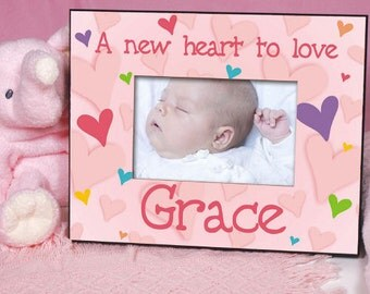 New Baby Personalized Frame, Hearts New Baby Frame