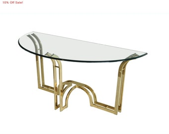 10% Off Sale! Vintage Mid Century Hollywood Regency Sculptural Brass Glass Top Demilune Console Sofa Hall Table