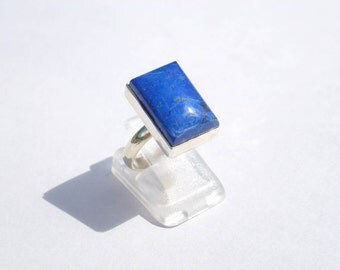 LAPIS LAZULI size 52 prong ring pendant rectangle unisex 925 Fine stone natural designer stone ring Silver 925 gemstones