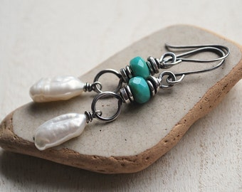 Pearl Earrings, Oxidized Sterling Silver Freshwater Pearl Earrings, Biwa Pearl Earrings, Rustic Pearl Earrings, Artisan Silver Pearl Earring