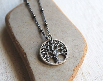 Tree Of Life Necklace, Tiny Sterling Silver Tree Of Life Necklace, Oxidized Silver Tree Charm Necklace