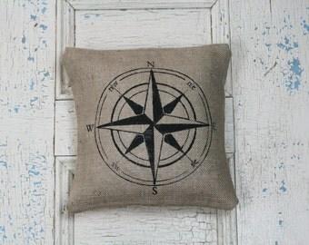 Compass Pillow, Burlap Pillow, Rustic Decor, Decorative Pillow