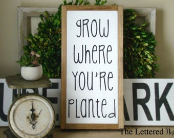 Grow Where You're Planted Wood Sign//Wood Signs Sayings//Signs For Home//Farmhouse Decor//Personalized Sign//Wood Signs Family//Baptism Gift