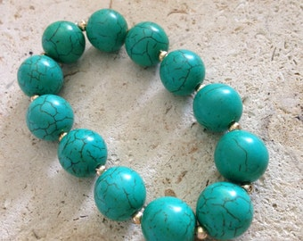 Turquoise Gold Beaded Bracelet, Turquoise Gold Bracelet, Turquoise Bracelet