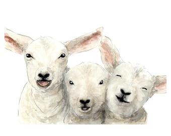 LAMB PRINT - farmhouse art, nursery art, watercolor lamb, children, farm art, sheep painting, lamb print, baby shower gift, animal print