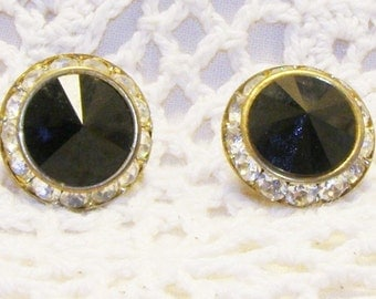 Vintage Clear Rhinestone Circling Black Glass Stone Round Pierced Earrings, Glamorous Earrings
