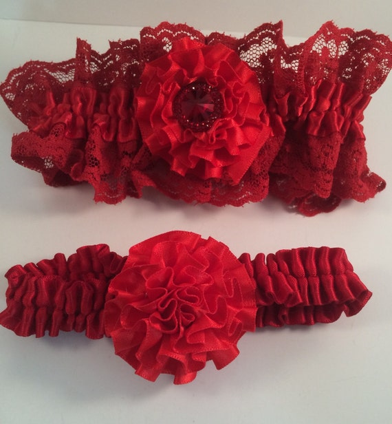 Red Wedding Garters: Red Lace Garter Set Red Lace Garters Garter Sets Red By
