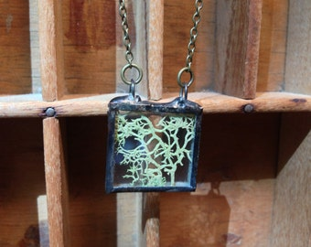Green Moss Square Terrarium Necklace - Boho Gypsy Woodland Stained Glass Natural Botanical