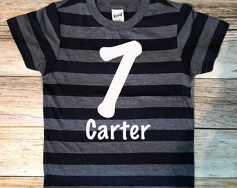 Name Monogram Birthday Shirt, 7th Birthday Shirt, 7th Birthday Boy Shirt, Boys Birthday top, Birthday shirt, Seventh Birthday Boy Shirt