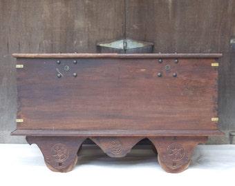 Antique Dutch Teak Storage Chest / Table