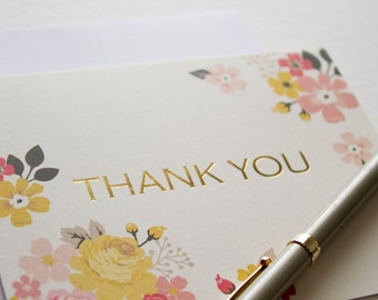 thank you stationary, floral thank you, thank you cards, thank you stationery, stationery cards, blank note cards, gold foil thank you