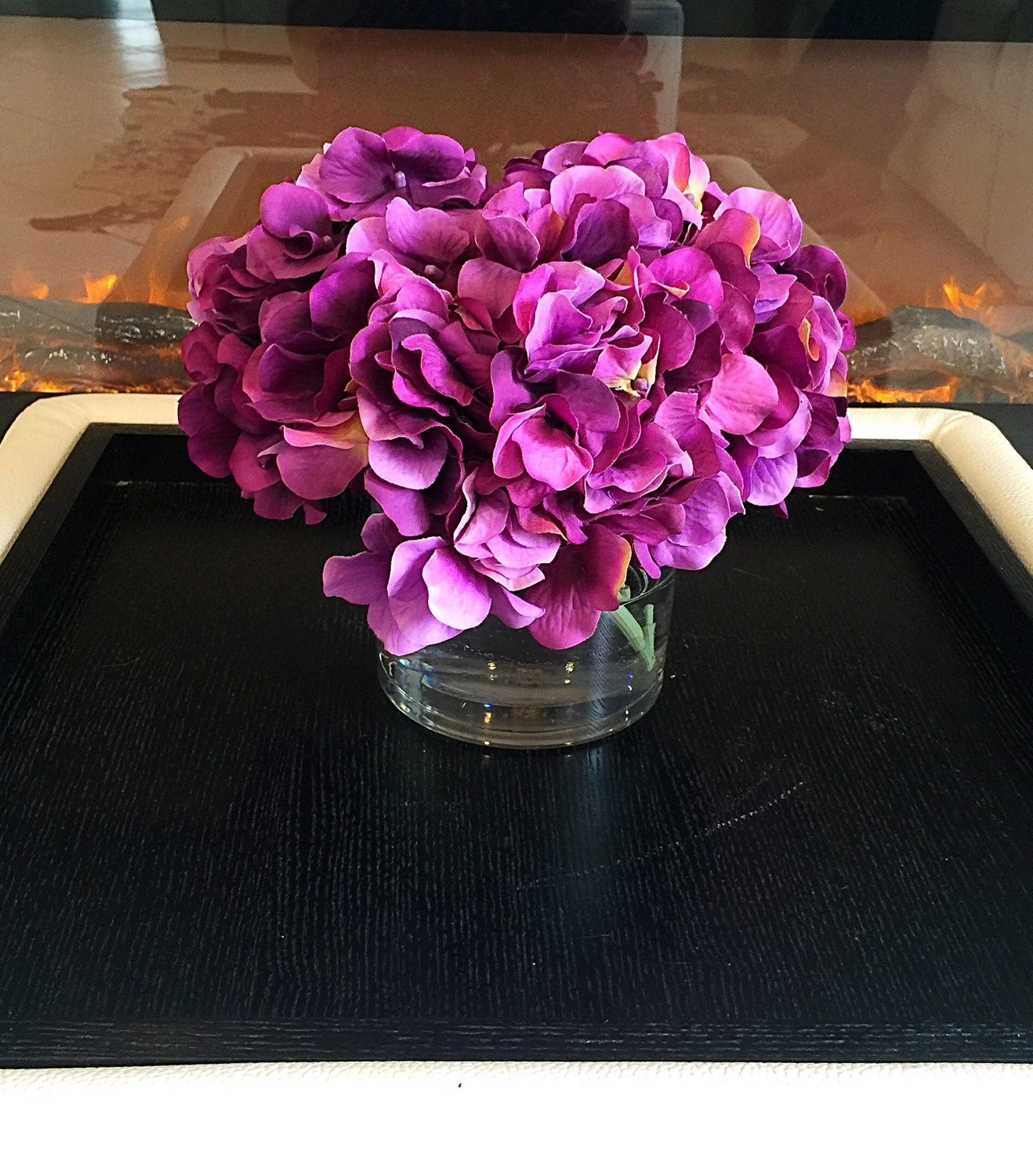 Purple hydrangea centerpiece silk floral