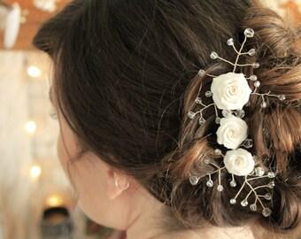 Bridal Hair accessory, Bridal Hair Jewellery, Polymer Clay Hair Accessory, Beaded hair Jewellery, Crystal Hair Jewellry, Bridal Hair piece