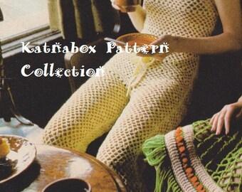 Ladies ' Crocheted Jumpsuit, Vintage 1970s, Instant Download, Crochet PDF Pattern